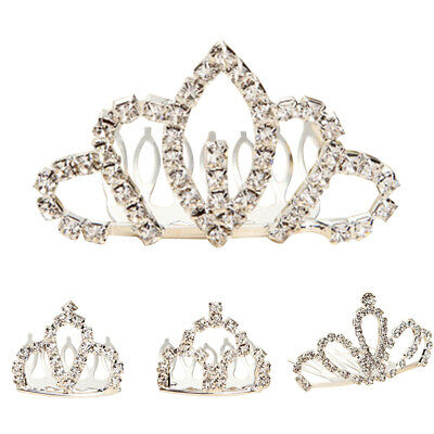 CO_ Kids Girl Princess Crown Comb Tiara Heart-shaped Rhinestone Hair Clip Novelt
