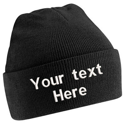Customised Childrens Junior Cuffed Woolly Knit Ski Beanie Hat Personalised