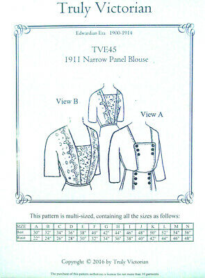 Sewing Pattern Truly Victorian TVE45 Edwardian Narrow Panel Blouse cir 1900-1914