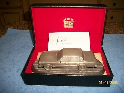 1970's Cadillac Seville Dealership Promotional Pewter Car W/ Leather Box