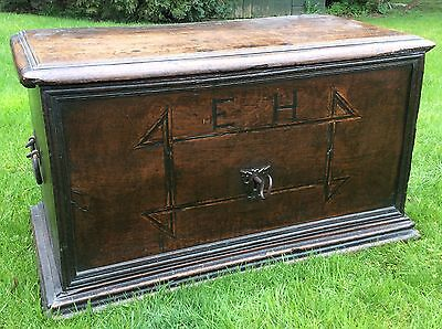 Very Rare 16th Century Oak German Truhe Coffer 15th 17th Nuremberg Iron Lock