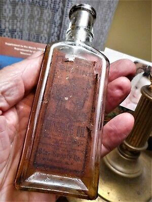 "Rare WINDSOR,NY ""Excelsior Sewing Machine Oil"" Blown Bottle w. Pic. Label. Aqua."