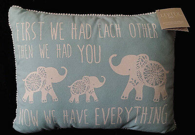 NEW/NWT-Levtex Baby-Nursery Pillow/Now We Have Everything/Blue-Elephants