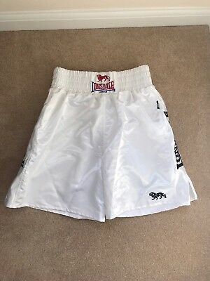 Lonsdale White Satin Boxing Shorts - XL / 38-40W