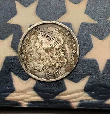 1835 10C Capped Bust Dime 90% Silver Vintage US Coin #FH40 Sharp Appeal