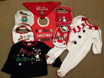Baby's First Christmas Clothing Bundle 9-12 Months bibs top hat sleepsuit