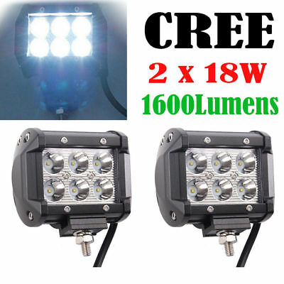 2Pcs 18W Cree LED Work Light Bar Spot Beam Off Road Driving Fog Lamp ATV SUV