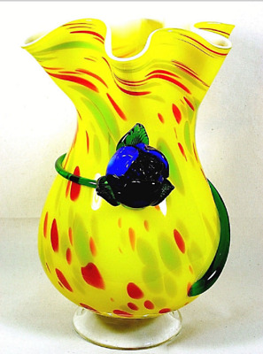 Large Ugly Blown Glass Vase Yellow Ruffled Rim End of Day Blue Flower Tall 13""