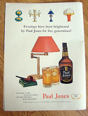 1951 Paul Jones Whiskey Ad  Five Generations Evenings have Been Brightened