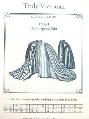 Truly Victorian Sewing Pattern TV263 Late Victorian Imperial Bustle Skirt uncut