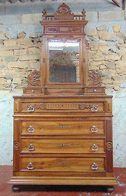 Antique French Marble-Top Walnut Dressing Chest with Mirror
