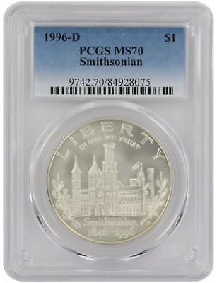 1996-D Smithsonian Dollar Commemorative MS70 PCGS Mint State 70