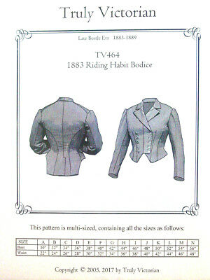 Truly Victorian  Sewing Pattern TV464 for 1883-1889 Riding Habit Bodice  uncut
