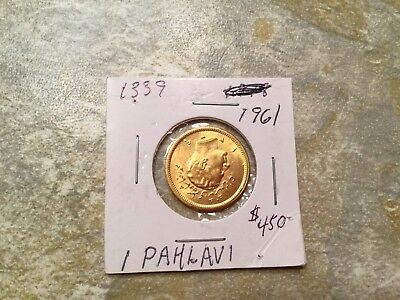 IRANIAN 1 Pahlavi Gold Coin Dated 1961