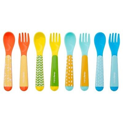 8 Pack - Cheeky Baby 4 Spoons & 4 Forks - Easy Grip BPA Free 9+m Dishwasher Safe