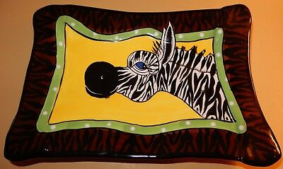 "SWAK Zebra Dish Plate Signed by Lynda Corneille 8"" x 11"" Footed Plate"