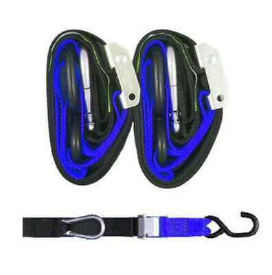 Heavy Duty Motorcycle Tie Downs - Handlebar Loop Strap & Snap Hook - Black/blue