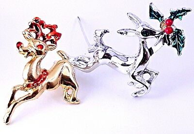 2 Vintage Reindeer Christmas Enamel Brooches Pins Gold Silver Rudolph