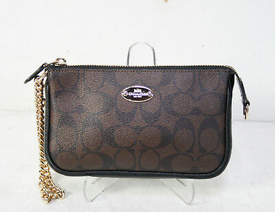 Coach Brown Black Signature Wristlet Purse