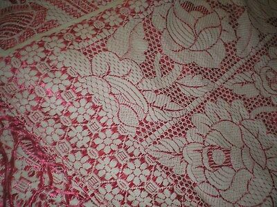 VTG Antique Silk Hand Embroidered Tapestry Bedspread, Piano Shawl PINK Floral