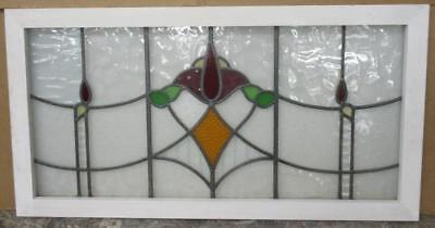 LARGE OLD ENGLISH LEADED STAINED GLASS WINDOW Nice Abstract Floral 39.75 x 20.75