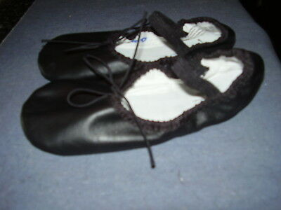 ABT SPOTLIGHTS Girls Youth Size 12.5 Black Leather Ballet Shoes Full Sole