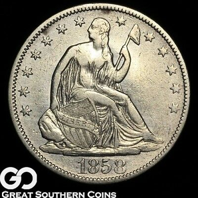 1858 Seated Liberty Half Dollar, Tough Early Silver Half