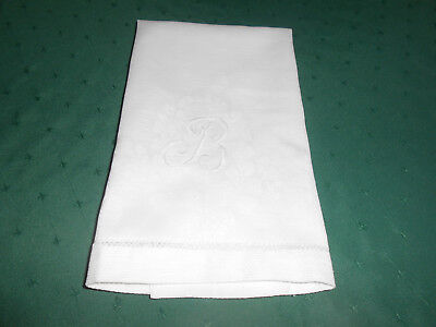 """Antique White Damask Towel With A Hand Embroidered Mono.,""""b"""", Circa1920"""