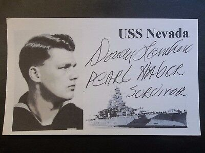 PEARL HARBOR Dorwin F. Lamkin USS Nevada BB-36 Autographed 3x5 Index Card