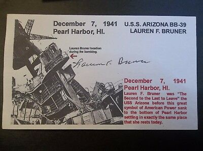 PEARL HARBOR Lauren F. Bruner USS Arizona BB-39 Autographed 3x5 Index Card
