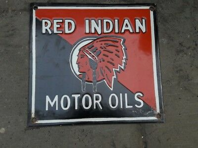 Porcelain Red Indian Sign SIZE 9.5 X 10 Inches