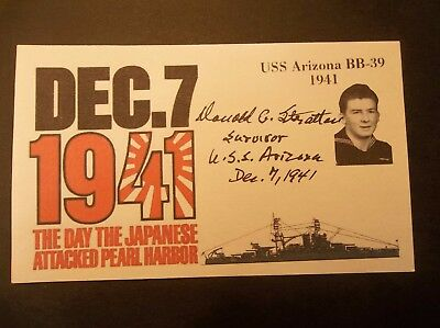 PEARL HARBOR Donald G. Stratton USS Arizona BB-39 Autographed 3x5 Index Card