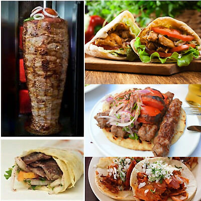 Kebab Shawarma Grill Gyros Automatic Vertical Broiler Commercial 4 Gas Burners