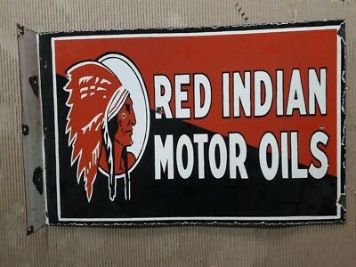 Porcelain RED INDIAN MOTOR OIL 16 X 24.5 inches sign double sided with flange