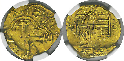 """Colombia 1651 2 Escudos Ngc 55 """"Dated"""" Gold Cob Doubloon Treasure Coin"""