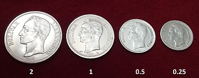 $AUCTION$ Lot 4x Silver Coin Collection Bolivares Venezuela Dollar UNC AU