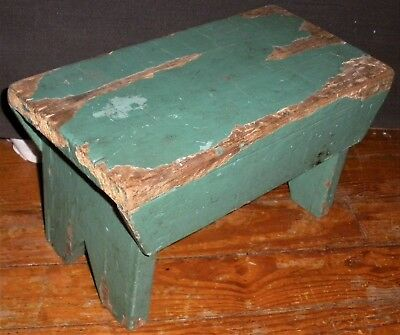 ANTIQUE c1920 HINKLES PHARMACY 1893-2017 PRIMITIVE STOOL BENCH GREEN PAINT vafo