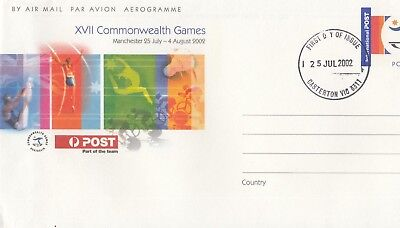 Stamp Australia 2002 Commonwealth Games aerogramme postmarked first day issue