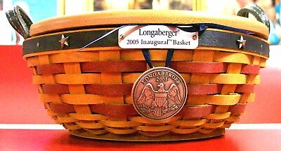 Longaberger 2005 Inaugural Basket Combo w Lid, Liner, and Tie On Medallion  MINT