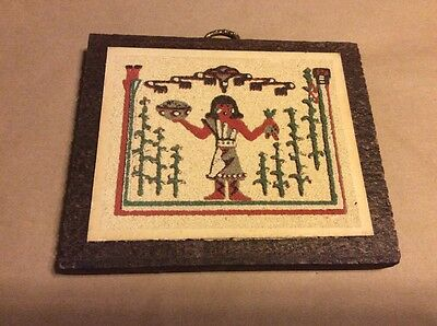 Vintage Native American Indian CORN MAIDEN  Sand Painting Wall Art