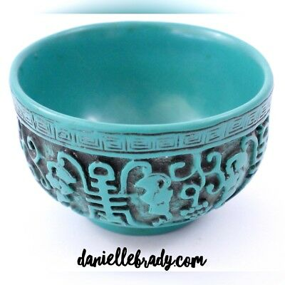 Small Vintage Antique Chinese Hand Carved Turquoise Bowl