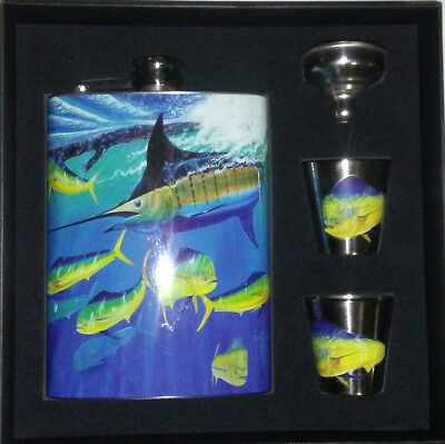 5cc5d8ea435 guy harvey Stainless Steel Flask Shot Glass Gift Set pack marlin dorado sea  fish