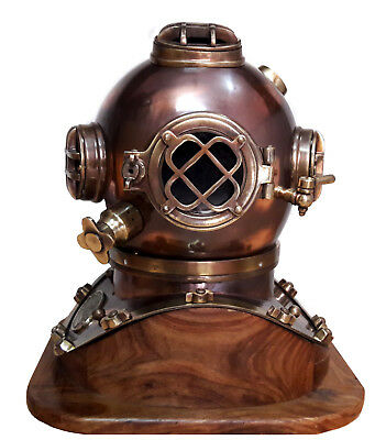 "Boston 18"" Antique Diving helmet U.S Navy Mark V Scuba Divers Helmet With Base"