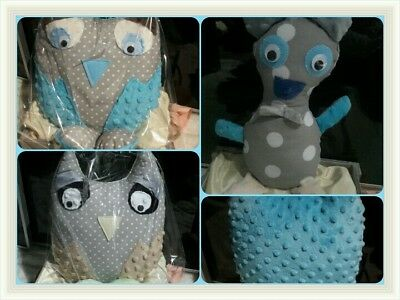 Minky Pillow Owl Shape Cosy Reversible Patterned