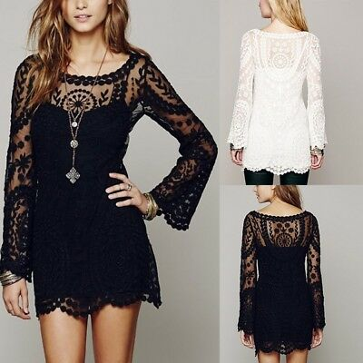 Sexy Sheer Lace Mini Dress Women's Floral Long Sleeve Casual Party Beach Dress