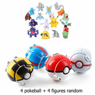 4 Stücke Bounce Pokemon Pokeball Cosplay Pop-up Elf Go Werfen Ball Spielzeug #aa