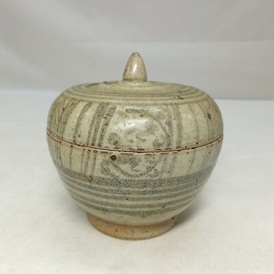 D951: Real old Southeast Asian pottery covered case GOSU of SUNKOROKU
