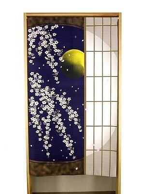JAPANESE Noren Curtain NEW MOON SAKURA CHREE  MADE IN JAPAN