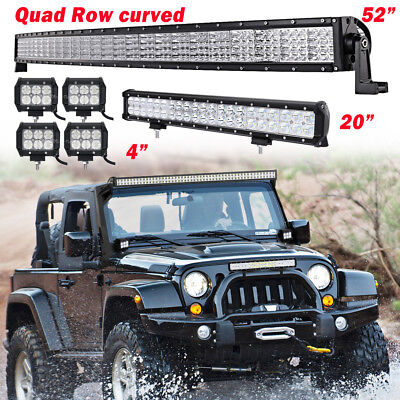 """Curved 52Inch Quad Row LED Light Bar Combo + 20in +4"""" PODS OFFROAD SUV FORD JEEP"""