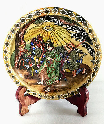 """A 9.9"""" Japanese Meiji Period Satsuma Stomeware Plate Journey to the West A/F"""